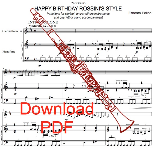 Happy Birthday Rossini's Style for Clarinet and Piano by Ernesto Felice