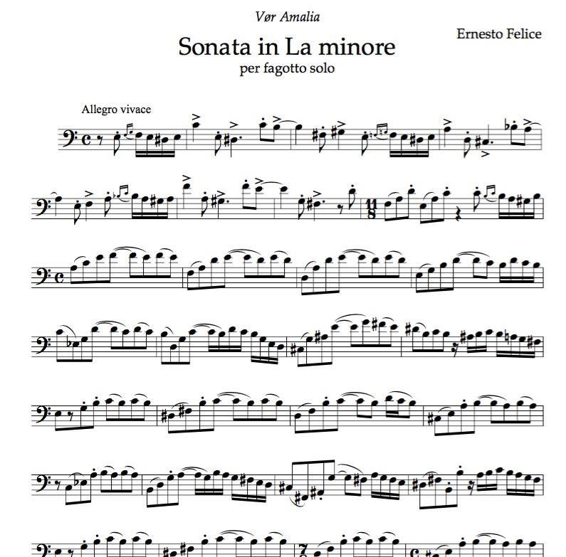 Sonata in La minore - for solo bassoon