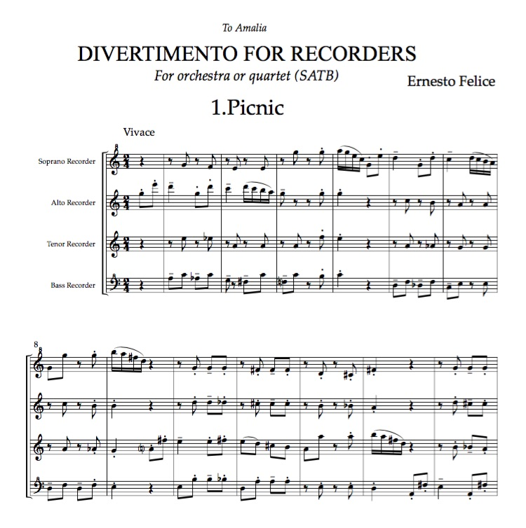 Divertimento for Recorders - Orchestra or Quartet - Pdf score and parts