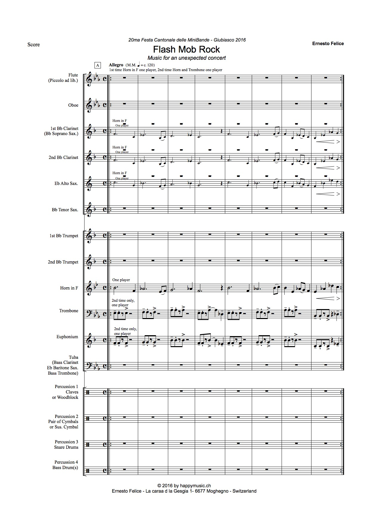 Flashmob Rock - Junior /Young  Band  - Pdf score and parts