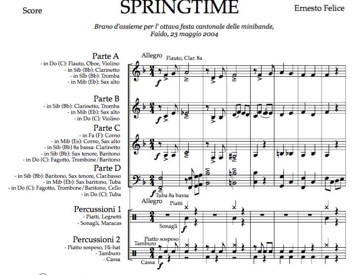 Springtime - Junior Band Flex - Pdf score and parts