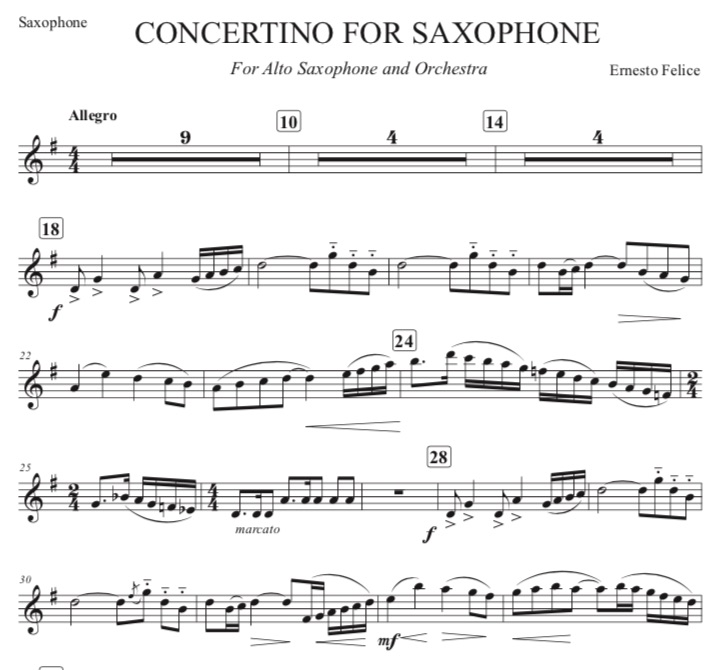 Concertino for Saxophone by Ernesto Felice - Sax Part